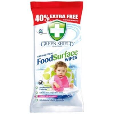 Green Shield Anti-Bacterial Food Surface Wipes - 70 Wipes