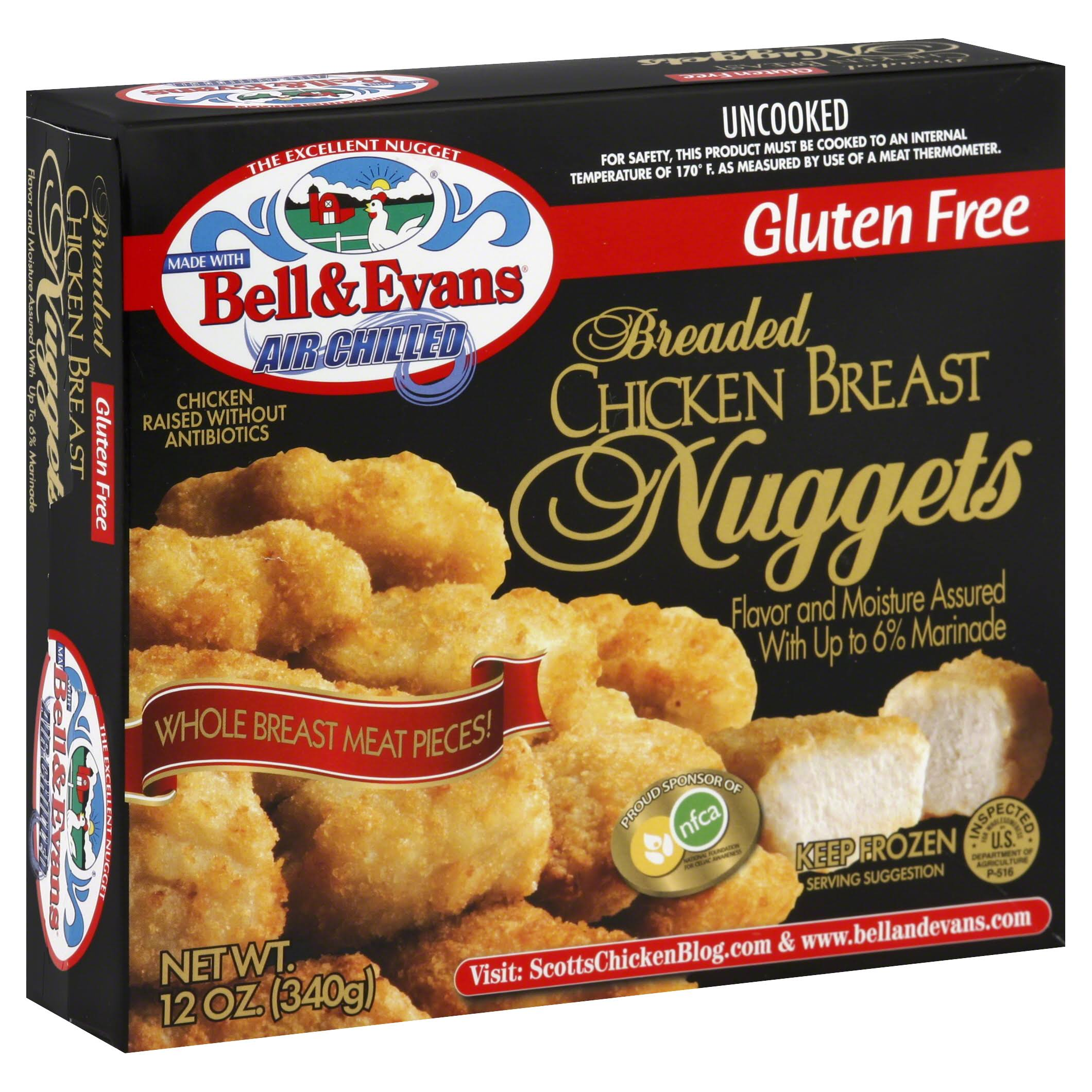 Bell & Evans Chicken Breast Nuggets, Breaded - 12 oz