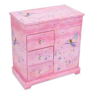 JewelKeeper Fairy & Flowers Musical Box - With 3 Pullout Drawers, Dance Of The Sugar Plum Fairy Tune