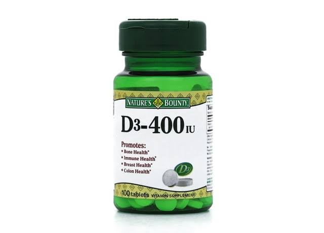 Nature's Bounty Vitamin D3 400 IU Supplement - 100 Tablets