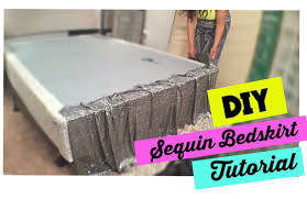 Dorm Room Bed Skirts by How To Make A Sequin Bedskirt Bedroom On A Budget Youtube