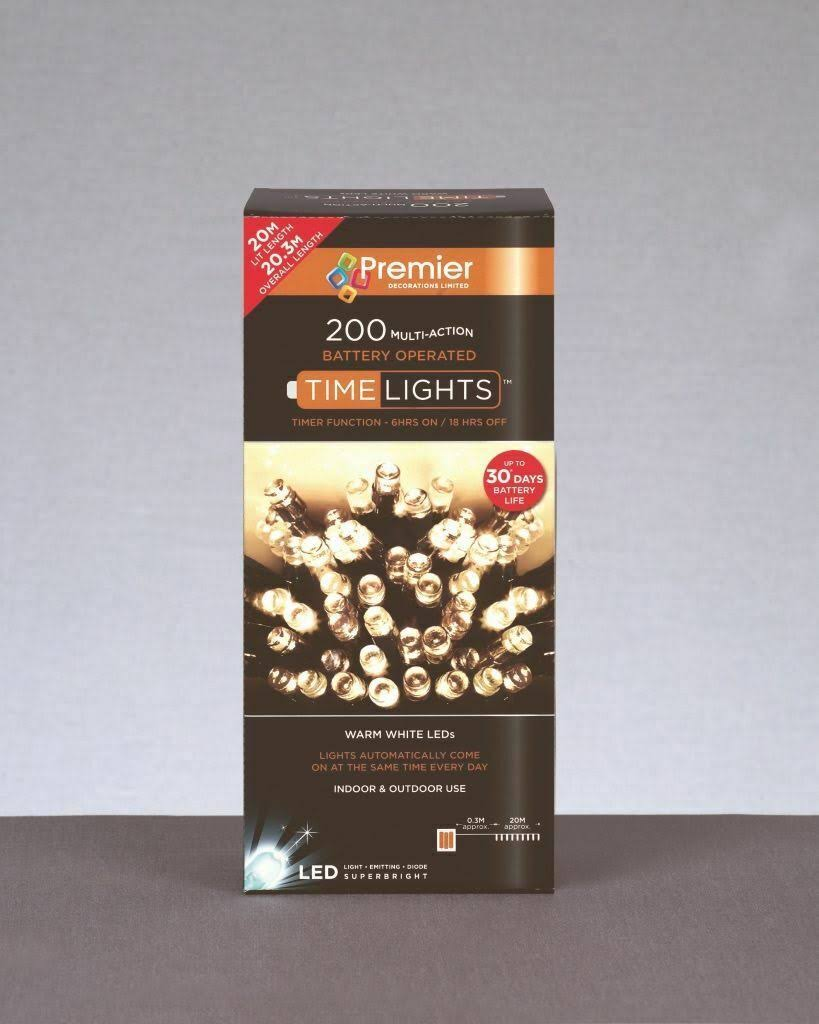 Premier 200 Battery Operated LED Lights Warm White