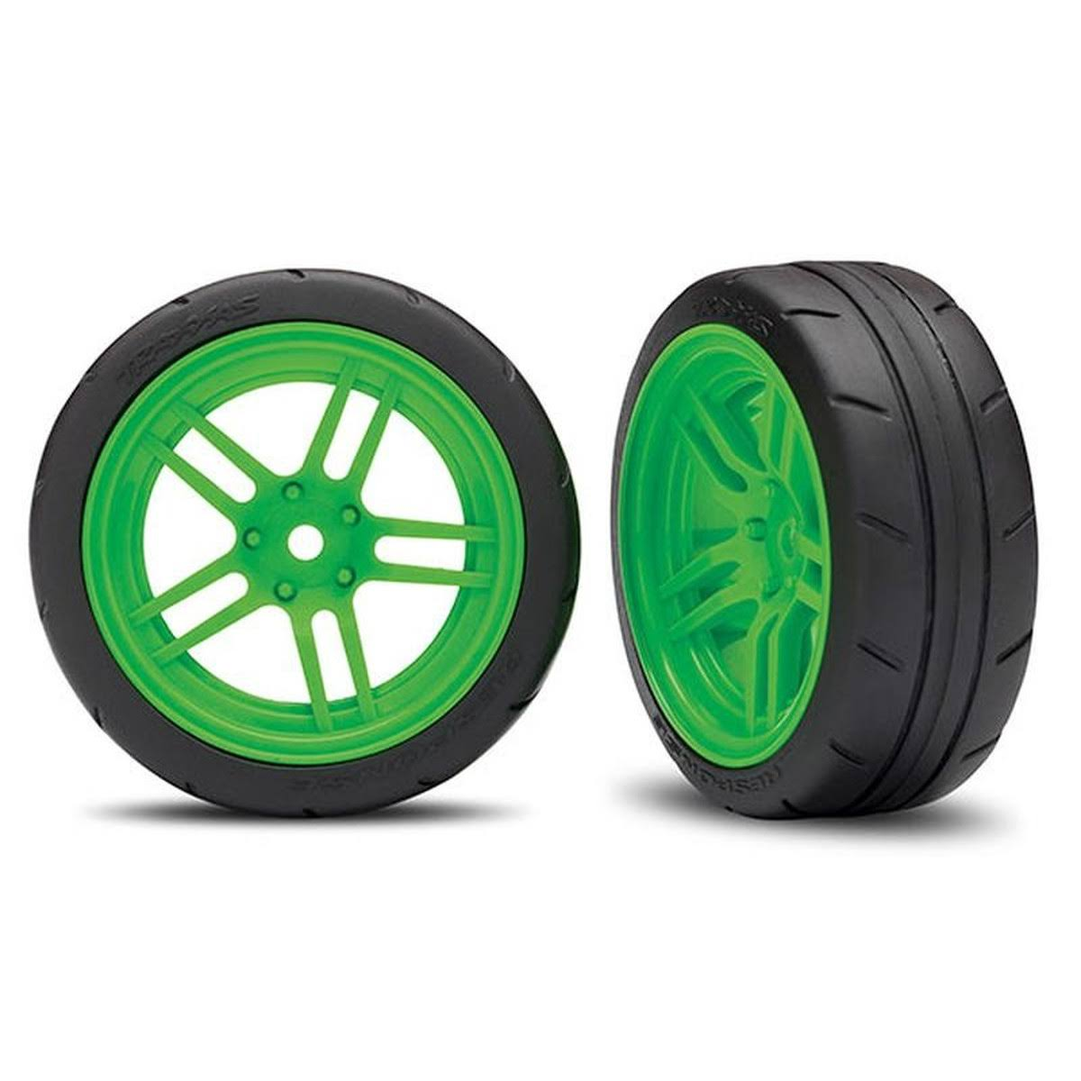 "Traxxas 8373G Assembled Green Split-Spoke Wheels with 1.9"" Response Tires"