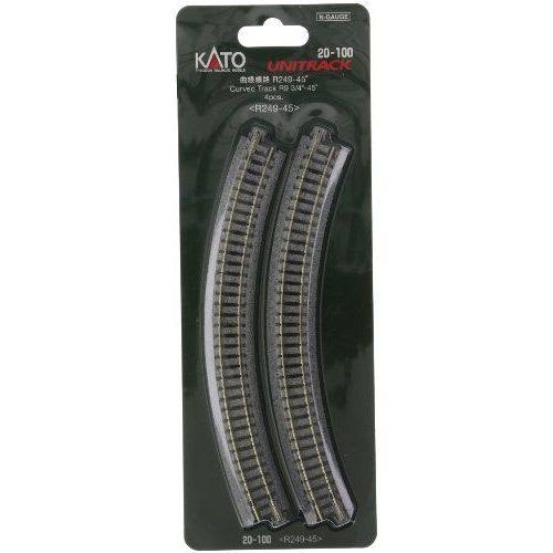 Kato Usa Model Train Products Radius 45-Degree Curve Track - 4pc, 249mm