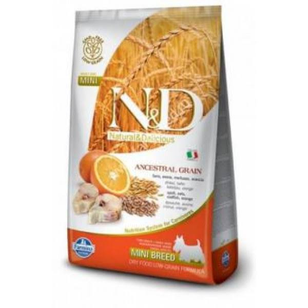 Farmina N&D Natural And Delicious Low Grain Mini Adult Dry Dog Food - Codfish and Orange, 5.5lbs