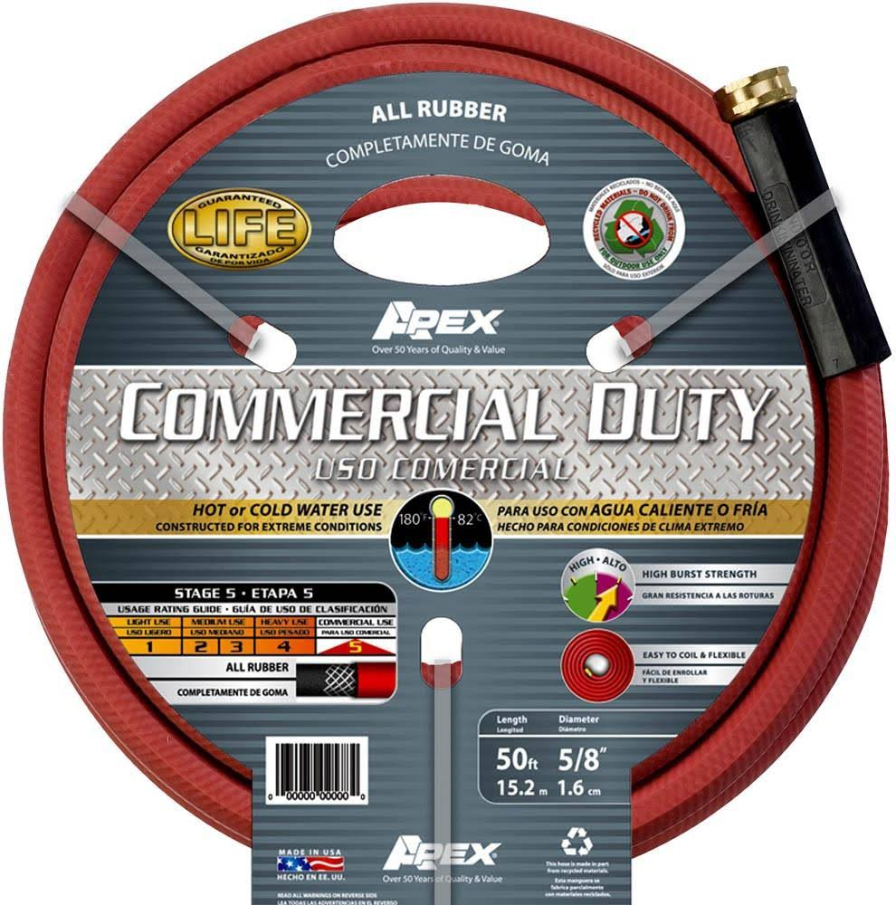 "Apex Commercial All Rubber Hot Water Hose - Red, 5/8""x50'"