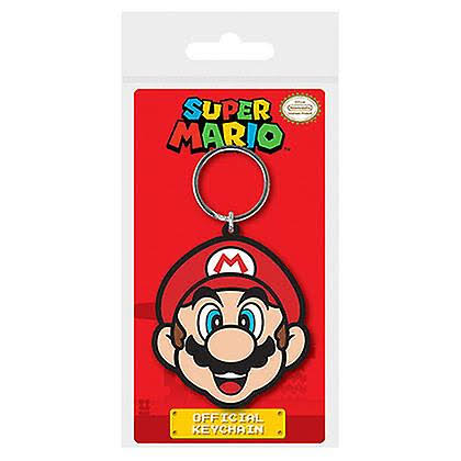 Super Mario Bros Face Nintendo NES Rubber Keychain - Red