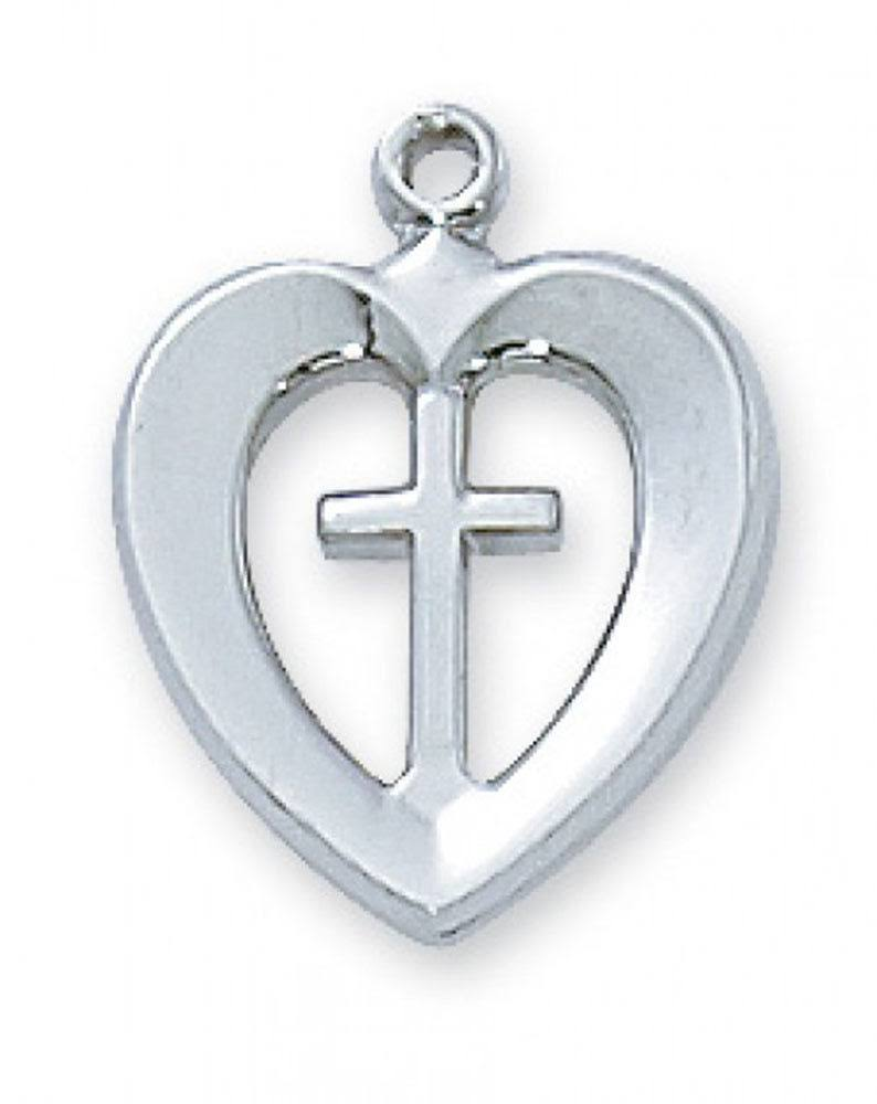 Cross in Heart Necklace with Sterling Silver Pendant L419