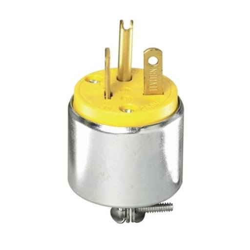 Leviton Armored Grounding Plug - Steel, 20 Amp, 250 Volt
