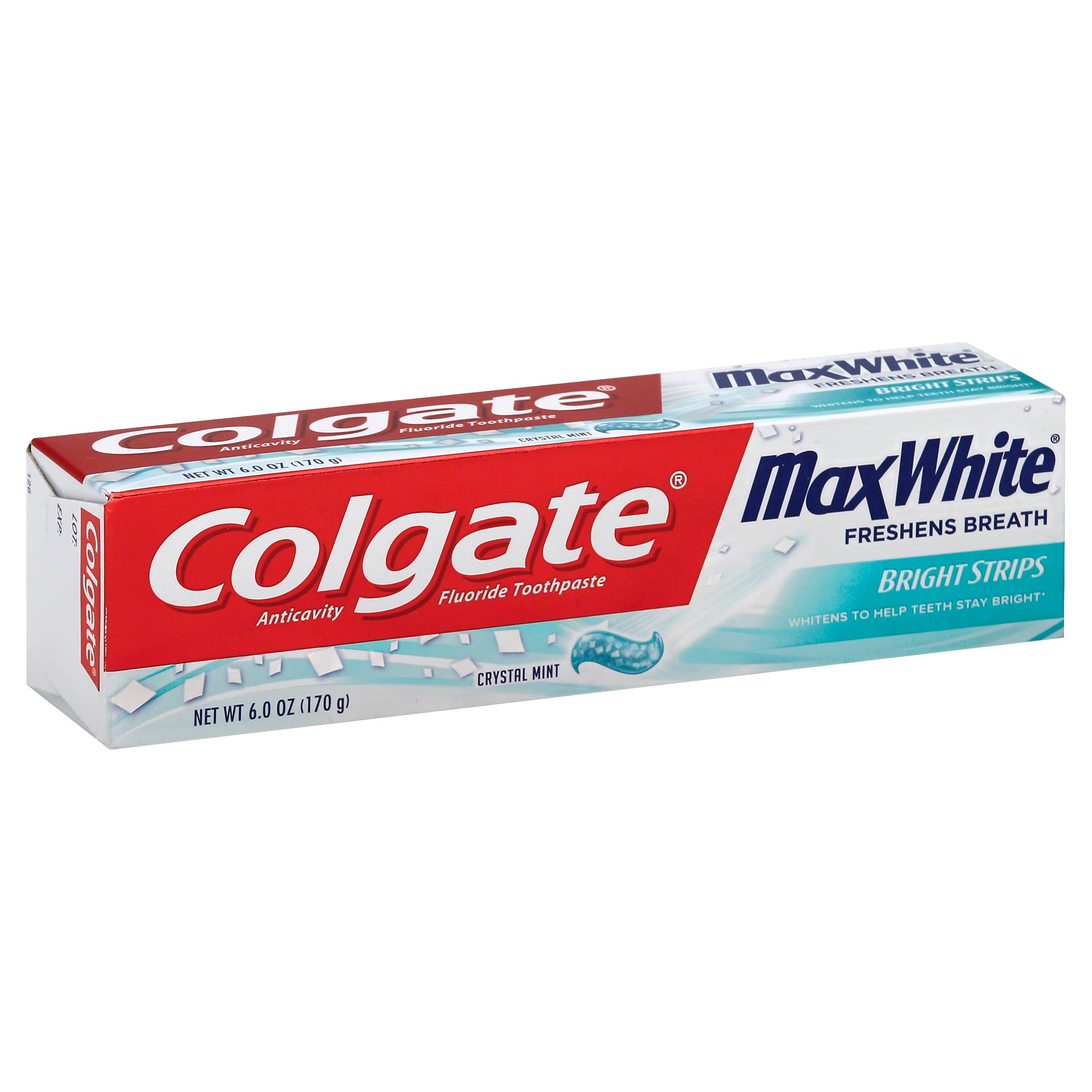 Colgate Max White with Mini Bright Strips Toothpaste - Crystal Mint, 6oz