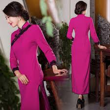 lace trim rose red winter cheongsam long traditional chinese dress