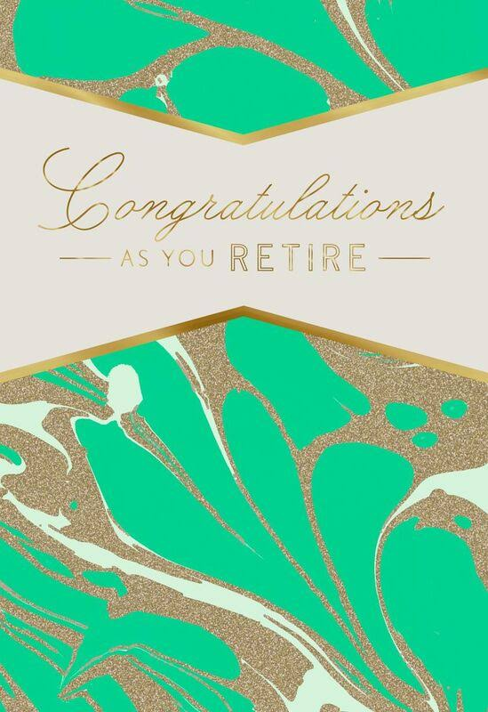 Marbled Green and Gold Retirement Card