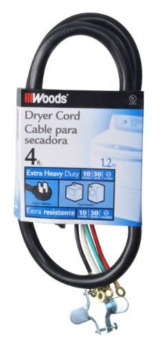 Dryer Power Supply Cord Woods Extension Cords - Black, 4', 30 Amp