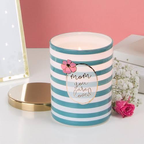 Pavilion 137543 Mom You Are Loved Soy Filled Glass Jar with Cotton Scent Candle - 7 oz