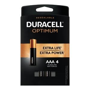 Duracell Optimum Alkaline Batteries - AAA, 1.5V, 4ct