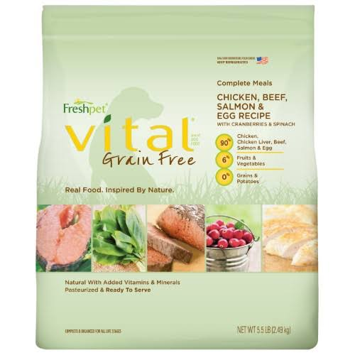 Freshpet Vital Grain Free Complete Meals Adult Dog Food - Chicken, Beef, Salmon & Egg, 5.5 LB