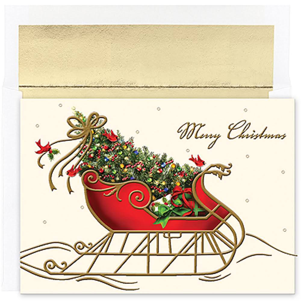 Masterpiece Studios Boxed Cards, 16-Count, Holiday Sleigh (843800)