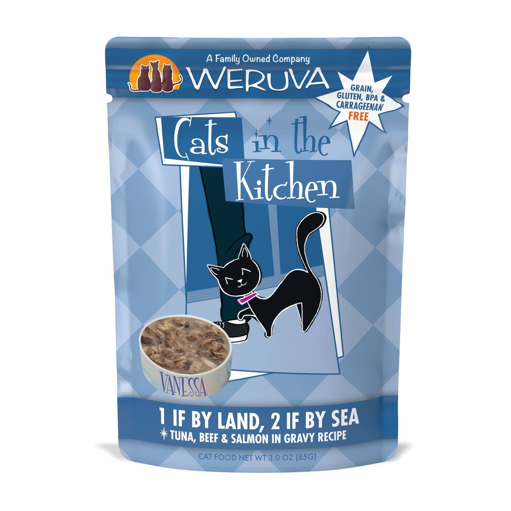 Weruva Cats in The Kitchen 1 If by Land 2 If by Sea Pouches Wet Cat Food - 3 oz, Case of 12