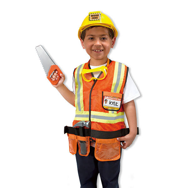 Melissa & Doug Construction Worker Costume Role Play Set