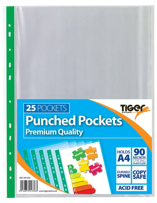 Tiger Punched Pockets - Pack of 25, A4