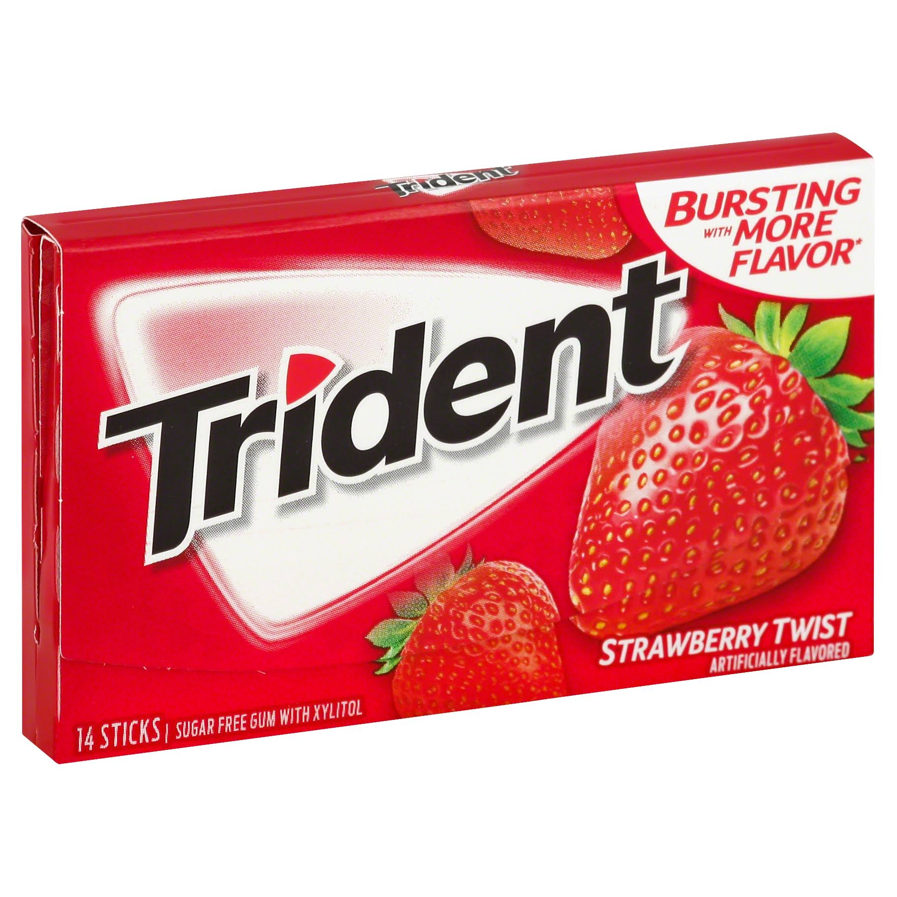 Trident Gum, Sugar Free, Strawberry Twist - 14 sticks