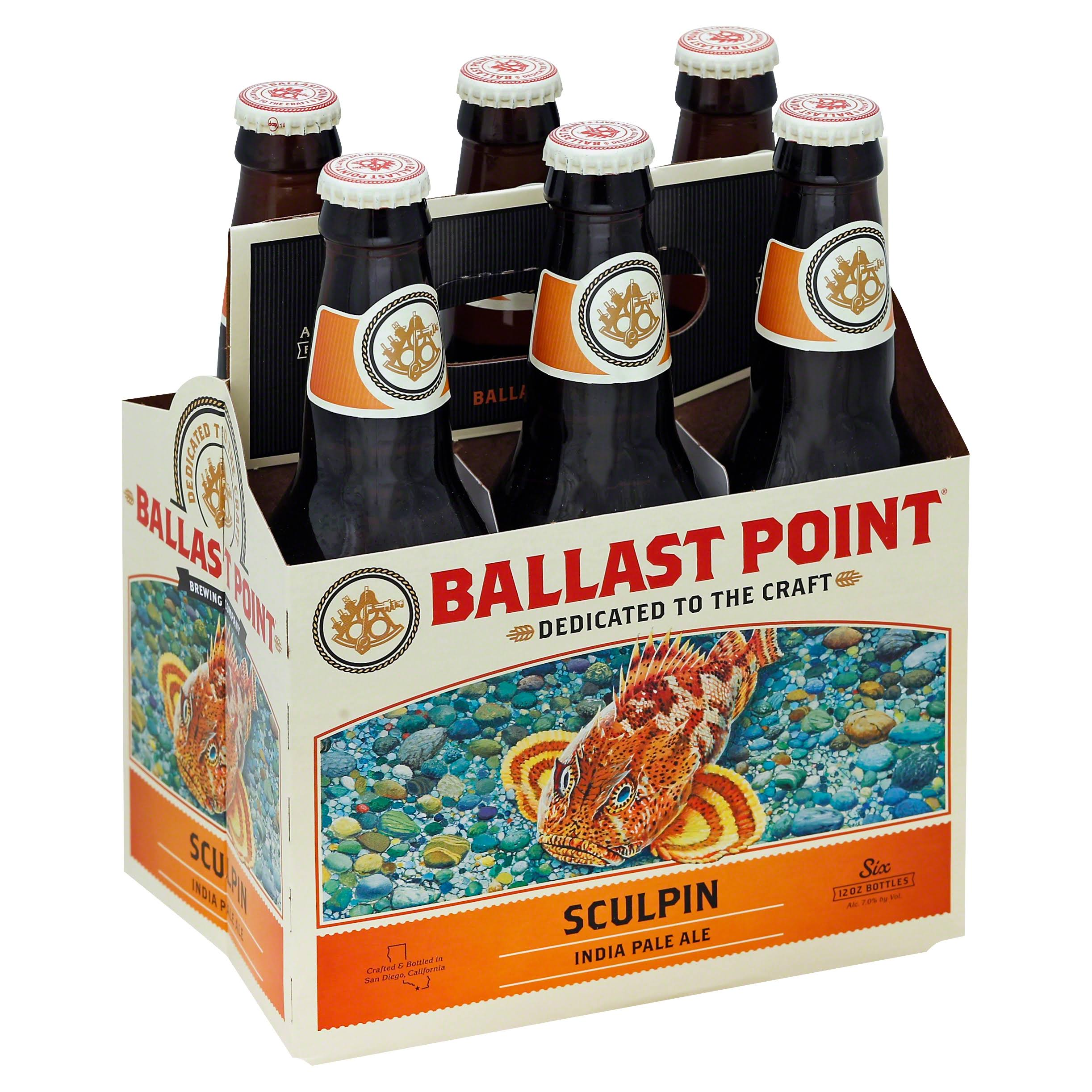 Ballast Point Beer, India Pale Ale, Sculpin - six - 12 oz bottles
