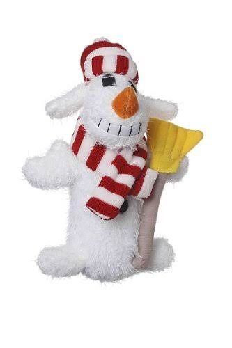 Multipet Loofa Snowman Plush Pet Dog Squeaker Toy - White, 6""