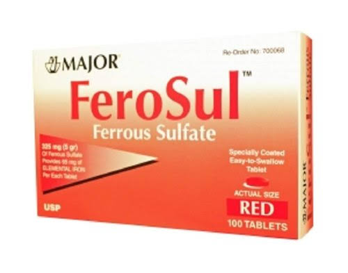 Major Ferrous Sul Ferrous Sulfate - 100 Tablets