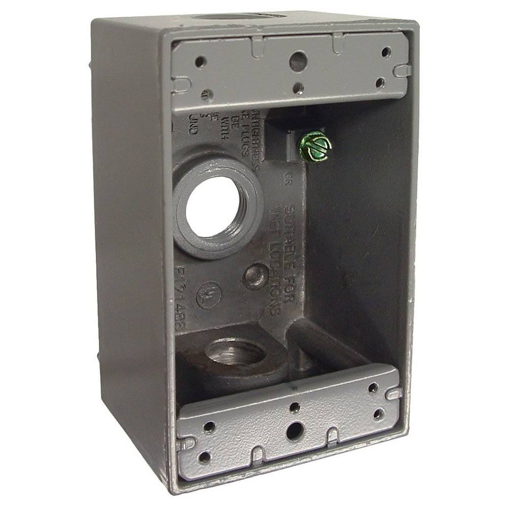 Hubbell Bell 5320-0 Outlets Weatherproof Box - Gray, Single Gang, 3.5""