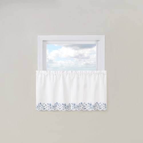 Belle Maison Bloom Embroidered Tier Curtain