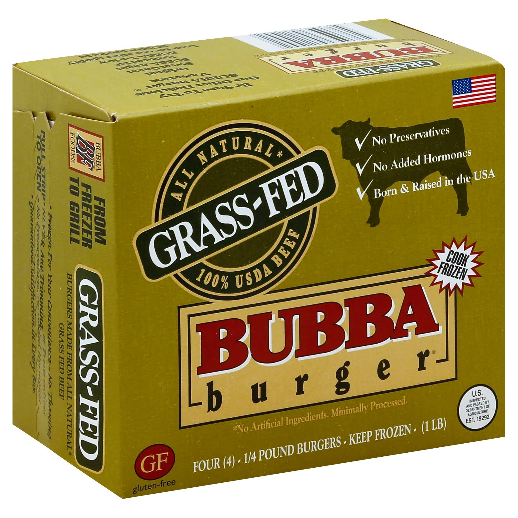 Bubba Burger, Grass-Fed Beef - 4 pack, 0.25 lb burgers