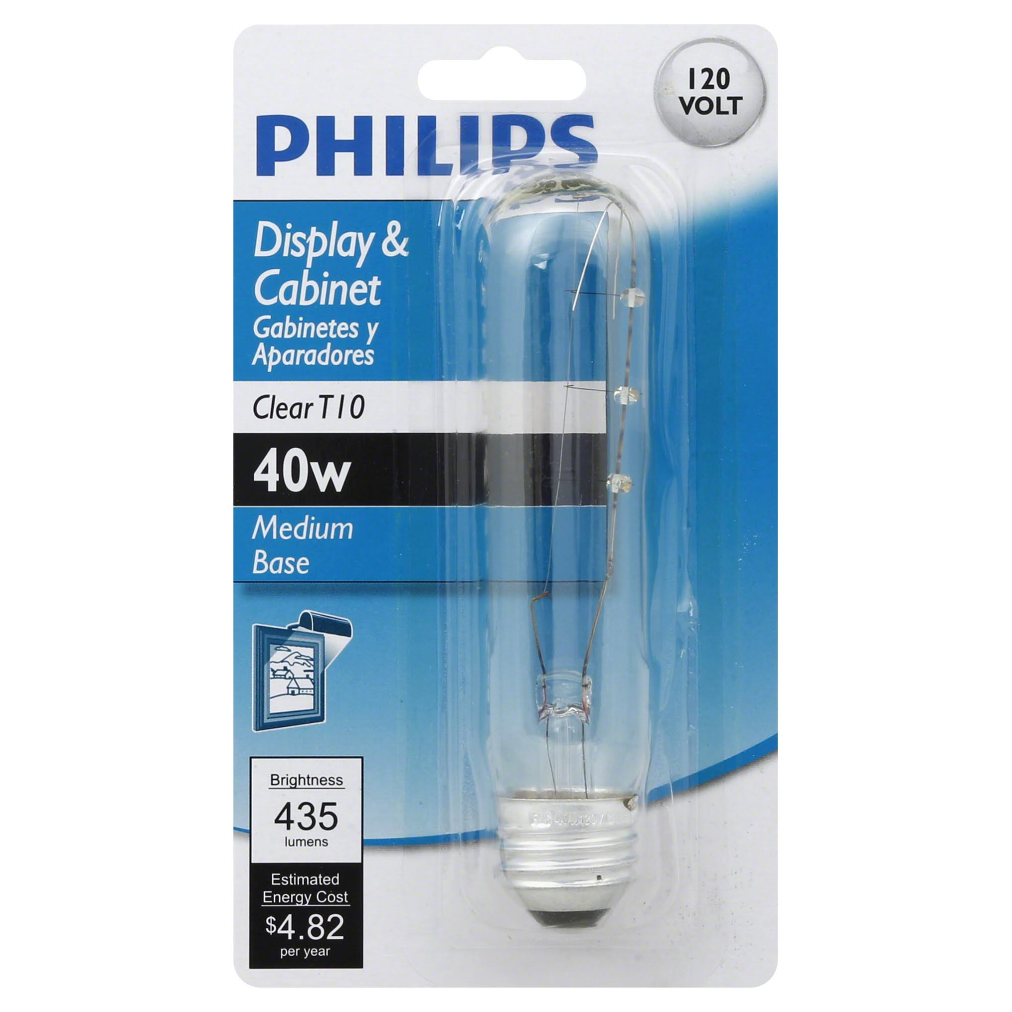 Philips Display And Cabinet Light Bulb - Clear T10, 40W, Medium Base, 120V, 435 Lumens