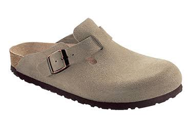 Birkenstock Unisex Boston Soft Footbed Leather Clog - Taupe Suede, 41 EU