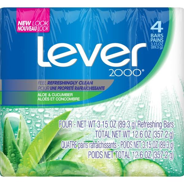 Lever 2000 Bar Soap - Aloe & Cucumber, 3.15oz, 4ct