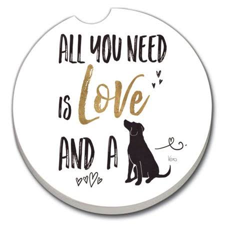 Counterart Love A Dog 1 Pack Absorbent Car Coaster 2.6 inch Round