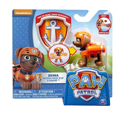 Paw Patrol Figures with Action Pack and Badge