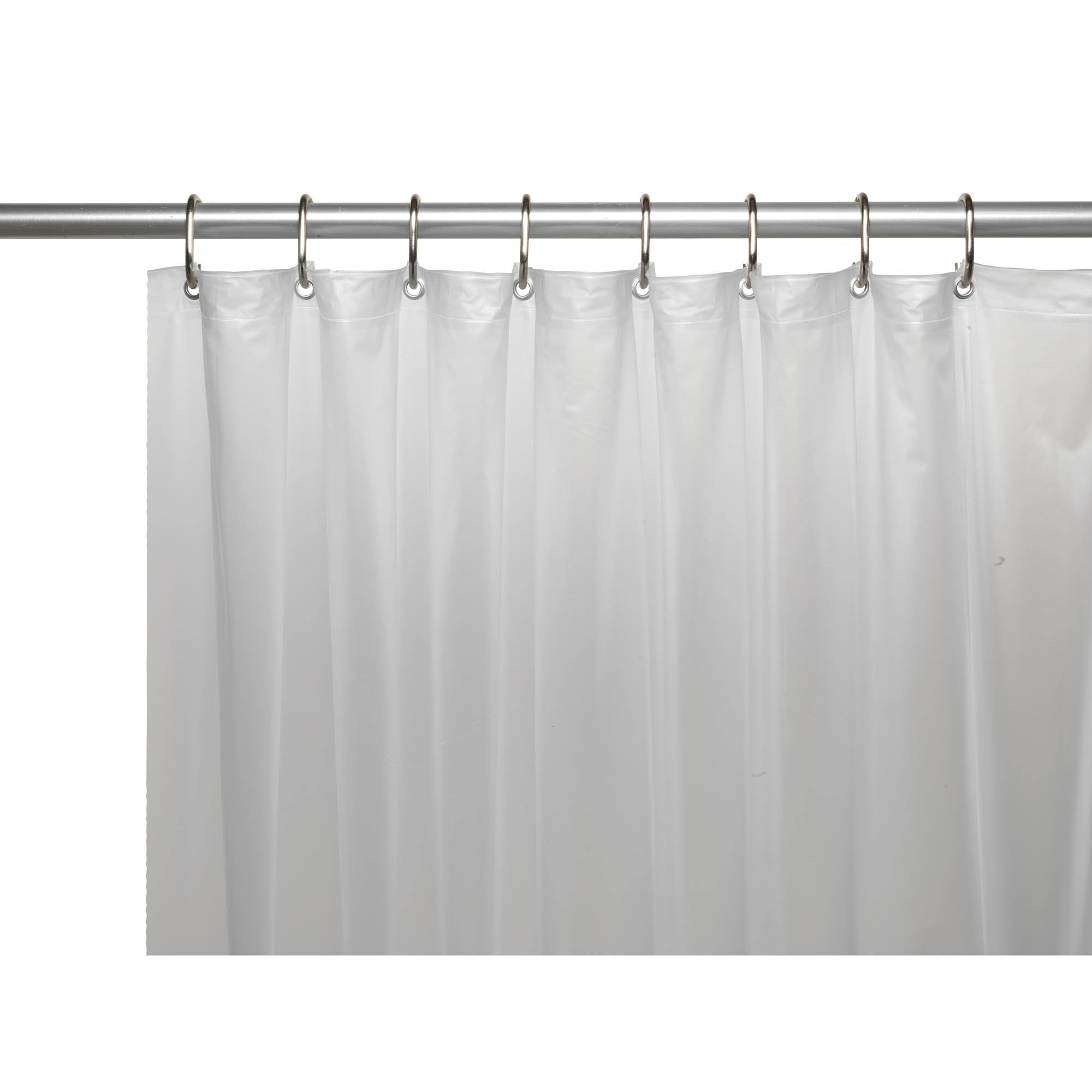 Carnation Home Fashions 3-Gauge Vinyl Shower Curtain Liner with Metal Grommets, Frosty Clear