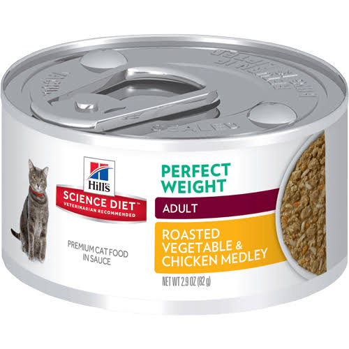 Hill's Science Diet Adult Perfect Weight Canned Cat Food - Roasted Vegetable & Chicken Medley, 92g