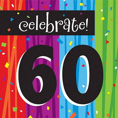 Creative Converting Milestone Celebrations Paper Lunch Napkins - Celebrate 60, 16ct
