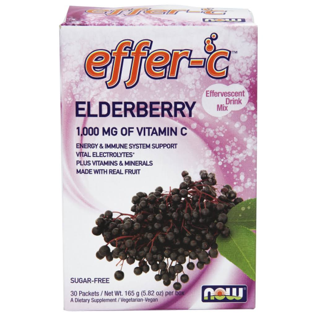Now Foods Effer-C Elderberry - 1000mg, 30 packets