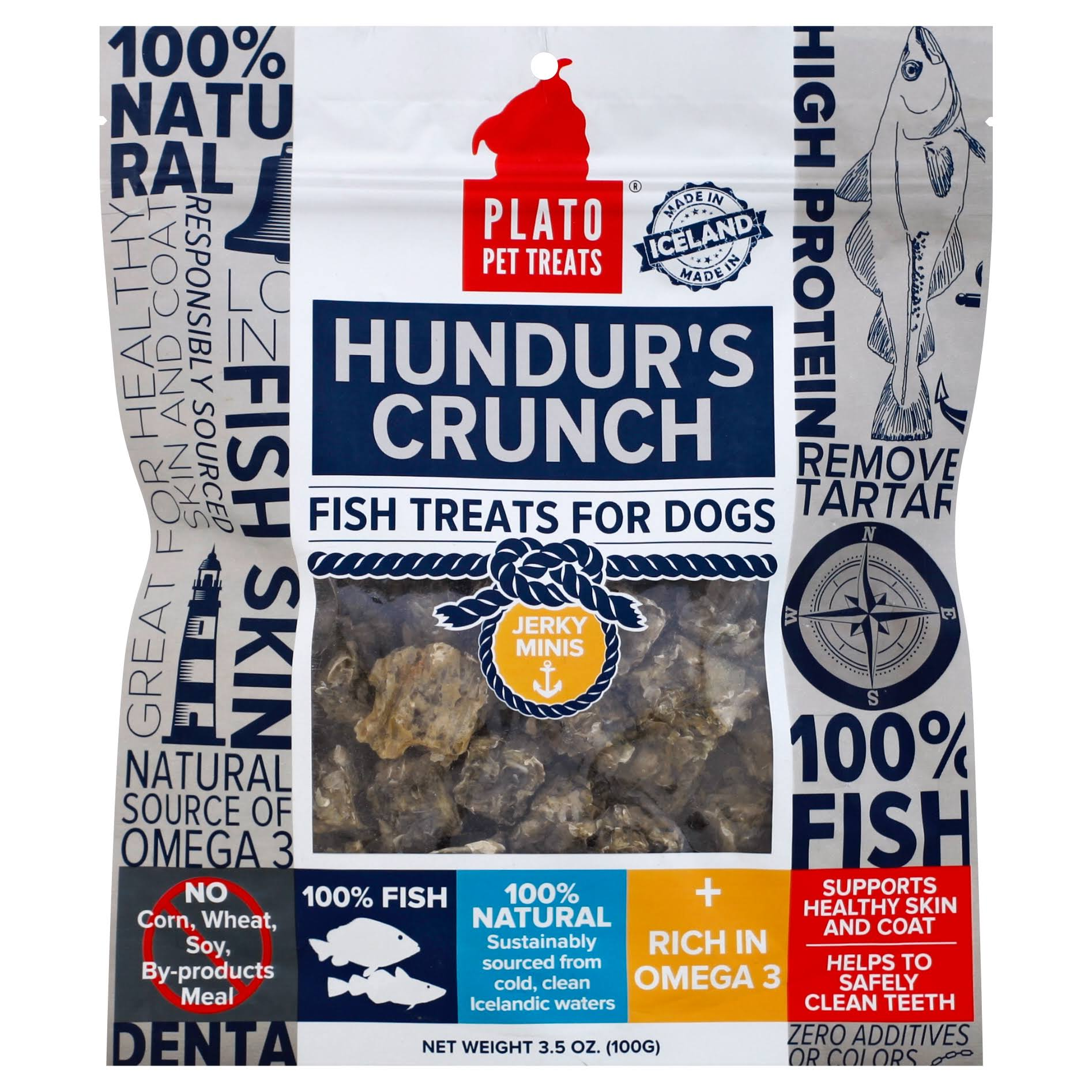 Plato Hundur's Crunch Fish Dog Treats - 100g