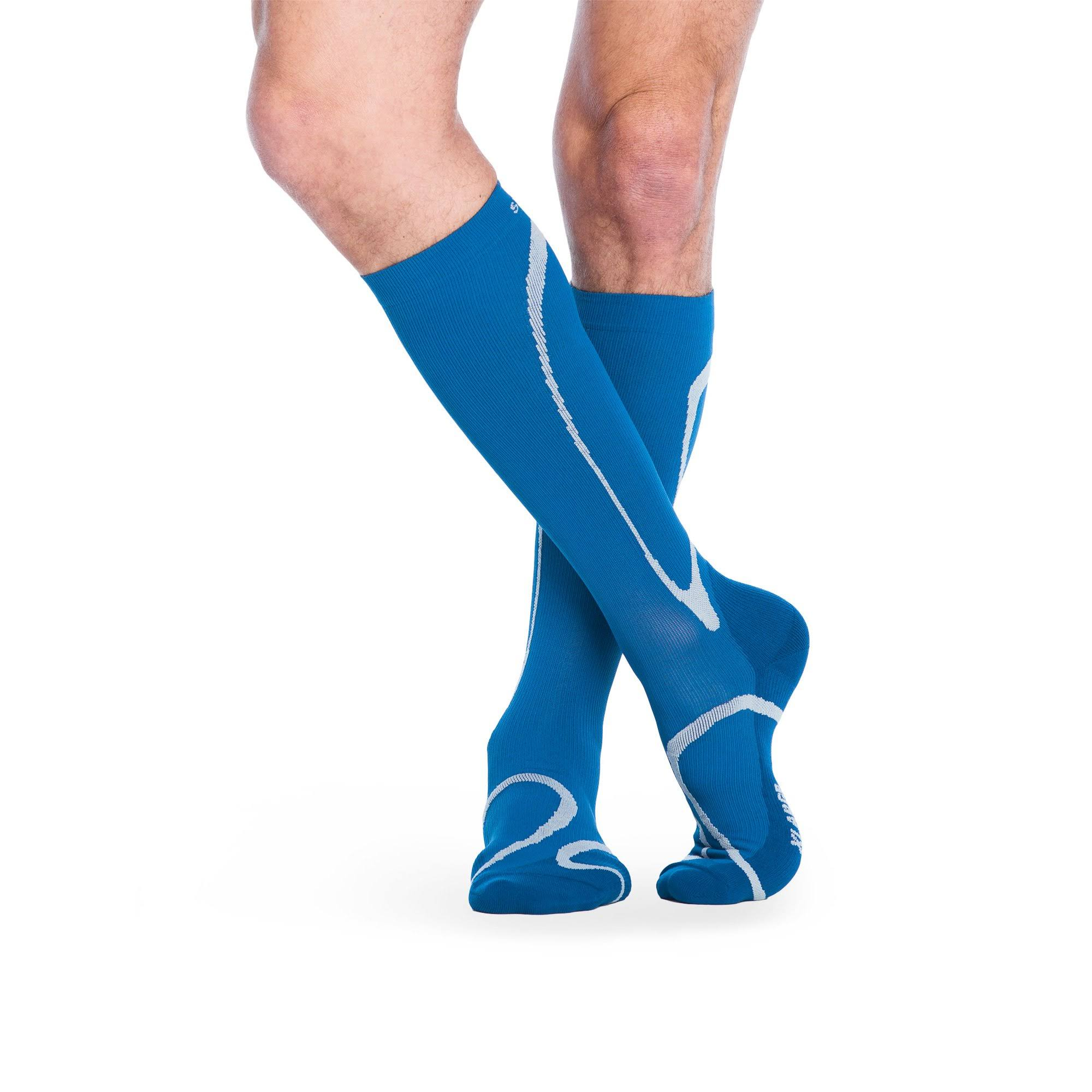 Sigvaris 412 Traverse Knee High Socks - 20-30 mmHg, Size: Small, Blue