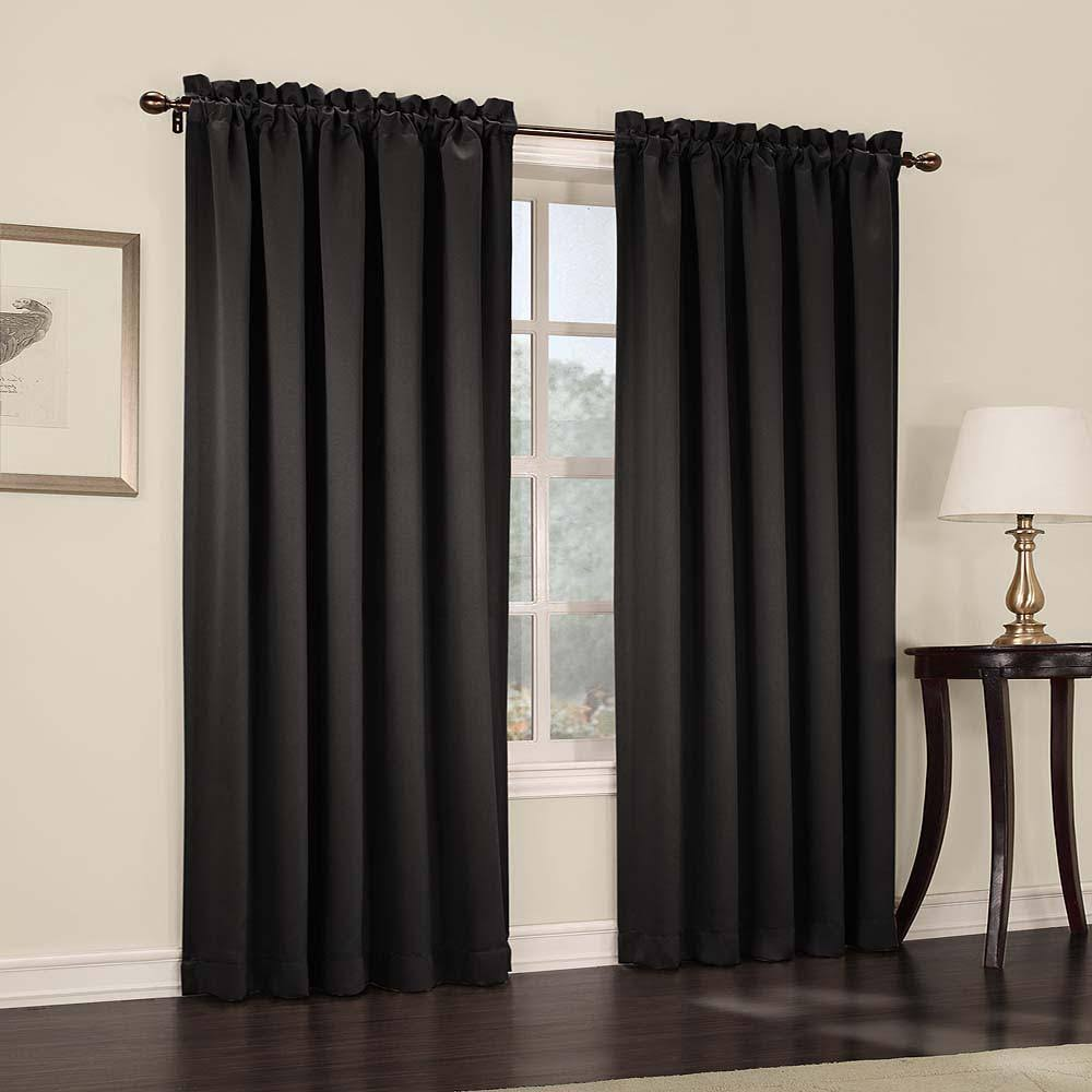 Madison Room Darkening Rod Pocket Curtain Panel Black