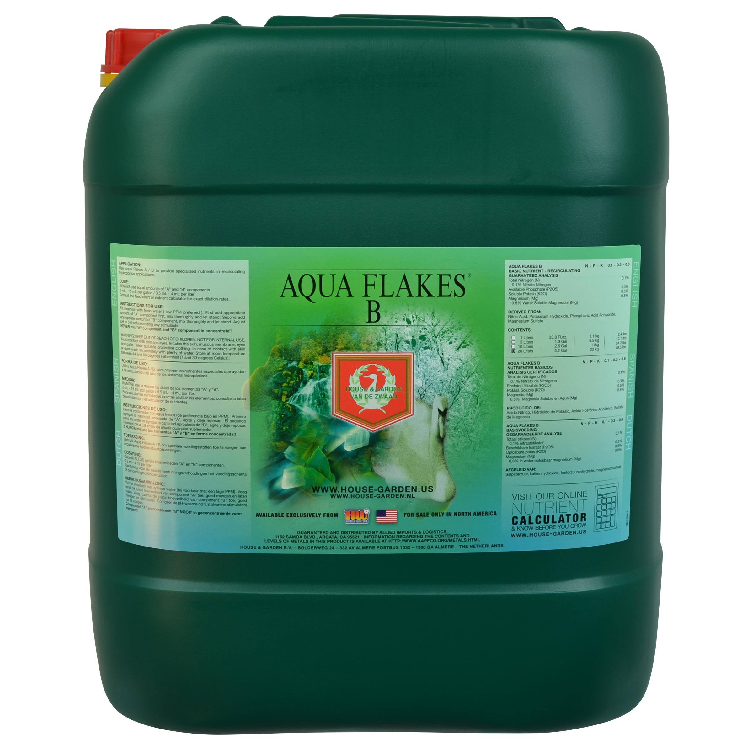 House & Garden Aqua Flakes B - 20 Liters