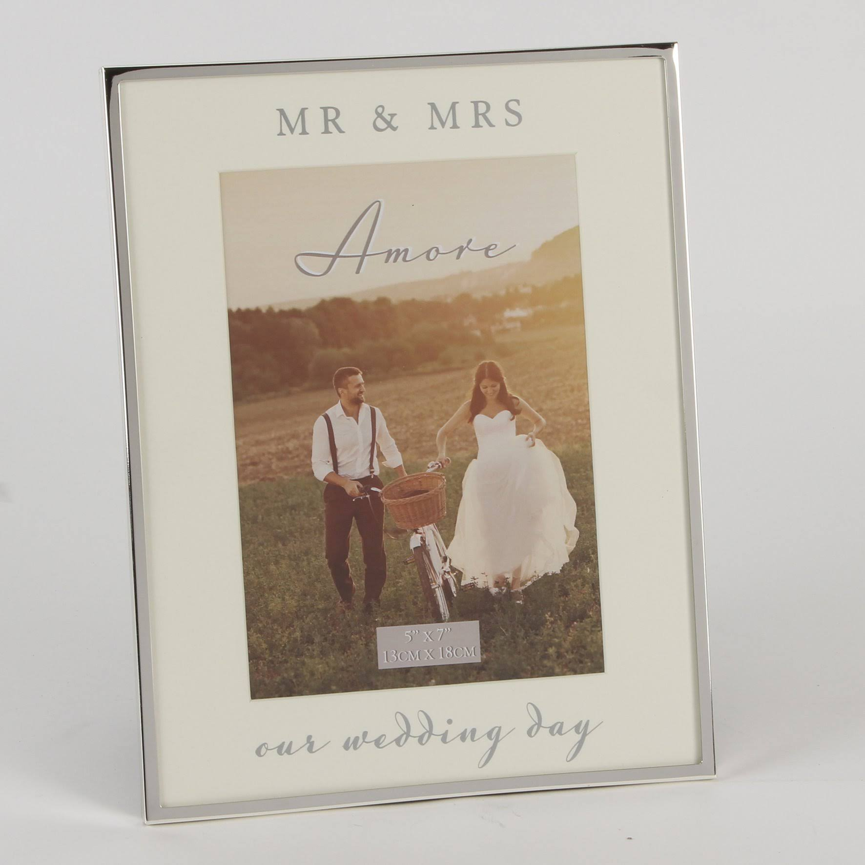 Amore Silver Plated Mirror Our Wedding Day Frame