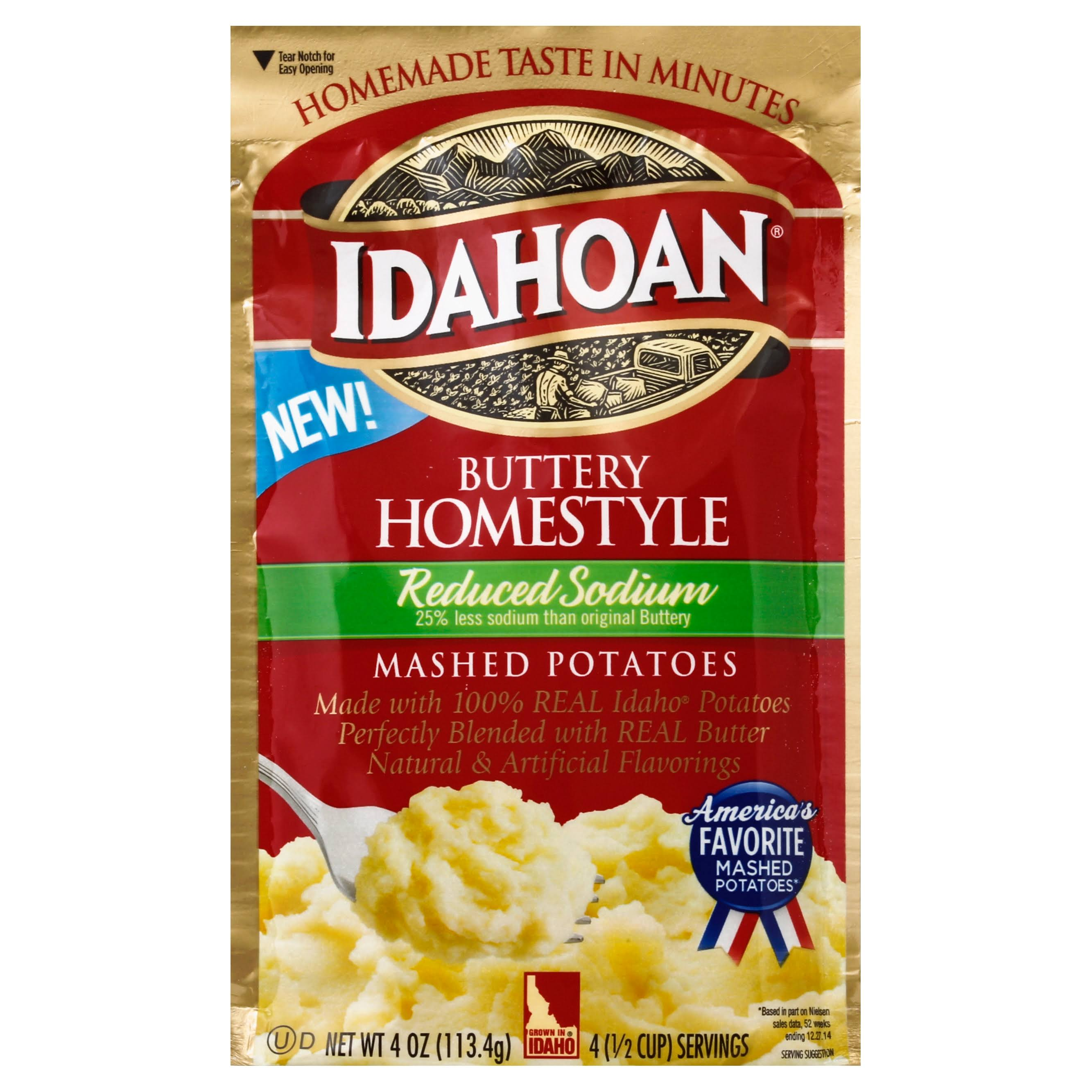 Idahoan Buttery Homestyle Reduced Sodium Instant Mashed Potatoes - 4oz