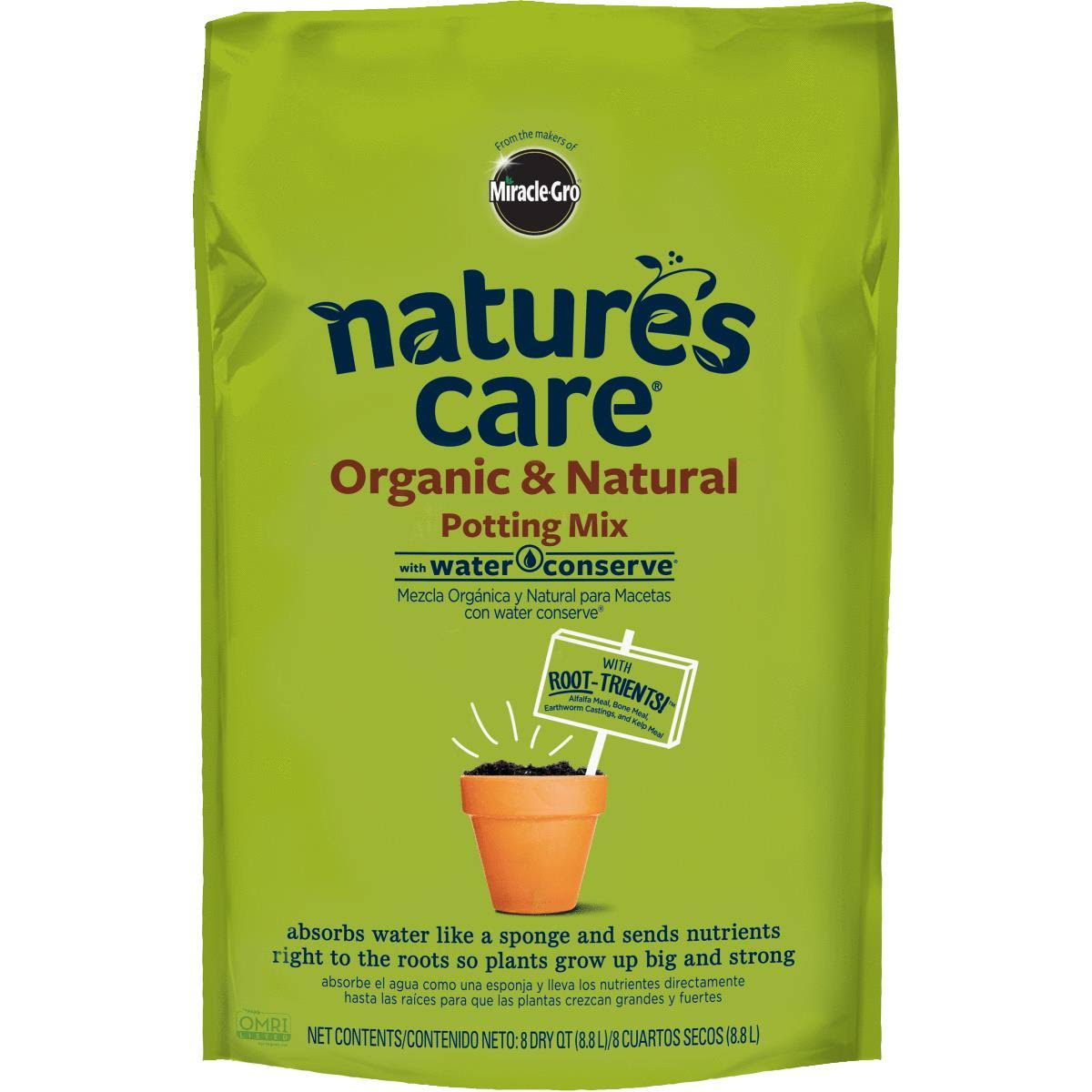 Miracle Gro 71678630 Nature's Care Organic Potting Mix - 8qt