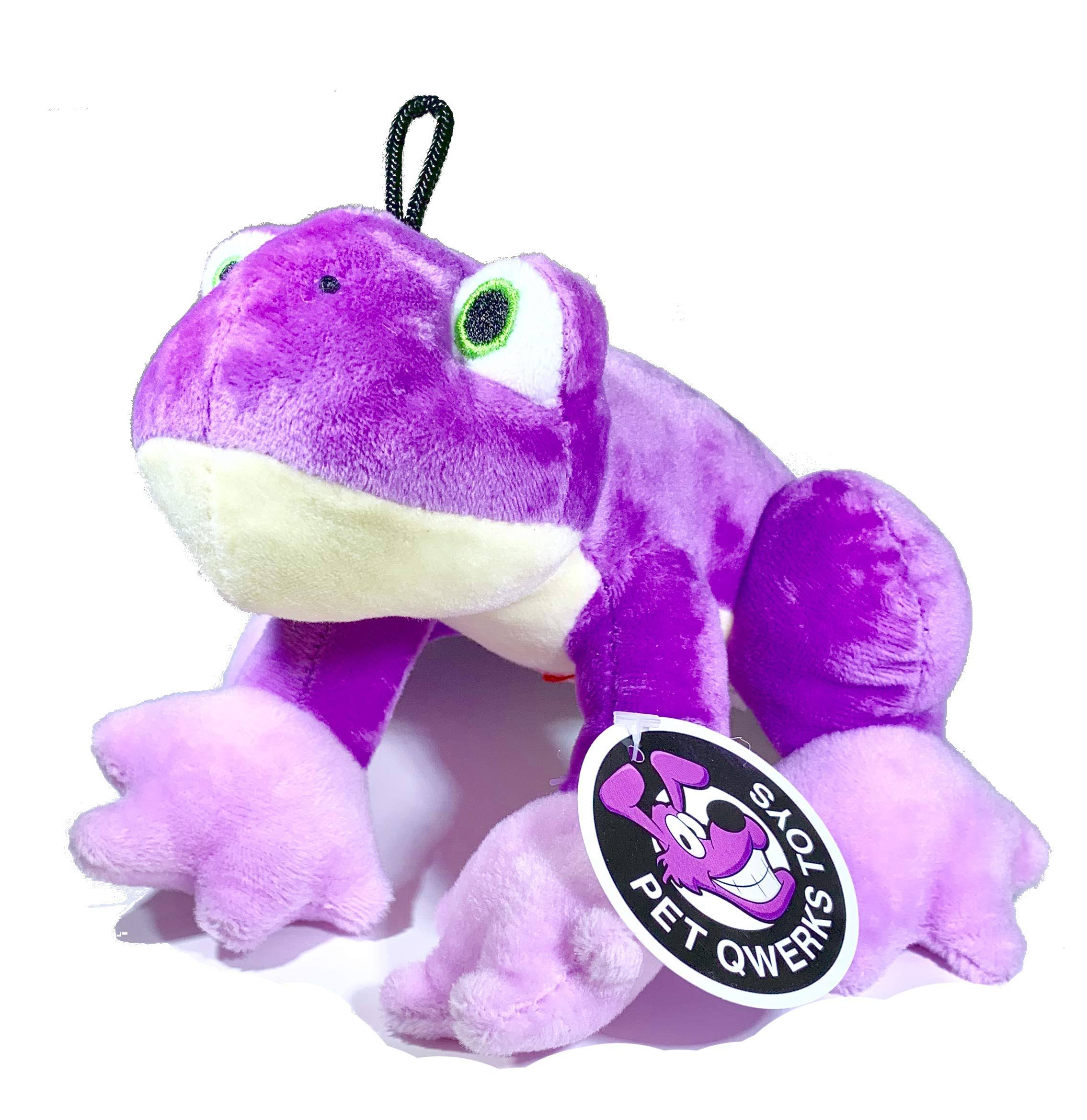 Pet Qwerks Frog Sound Plush Dog Toy, Purple, 7-in