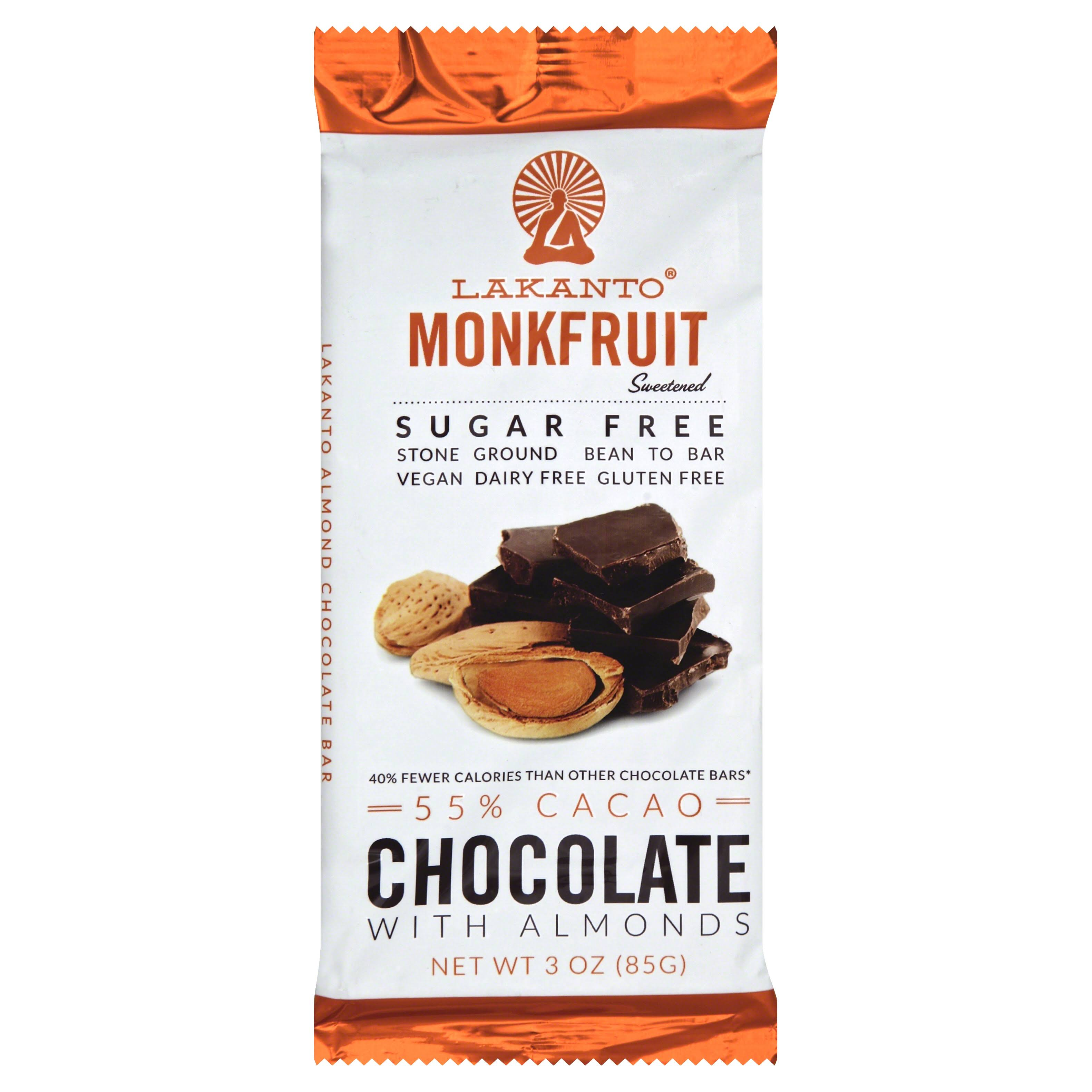 Lakanto Monkfruit Sugar Free Chocolate Bar With Almonds - 55% Cacao