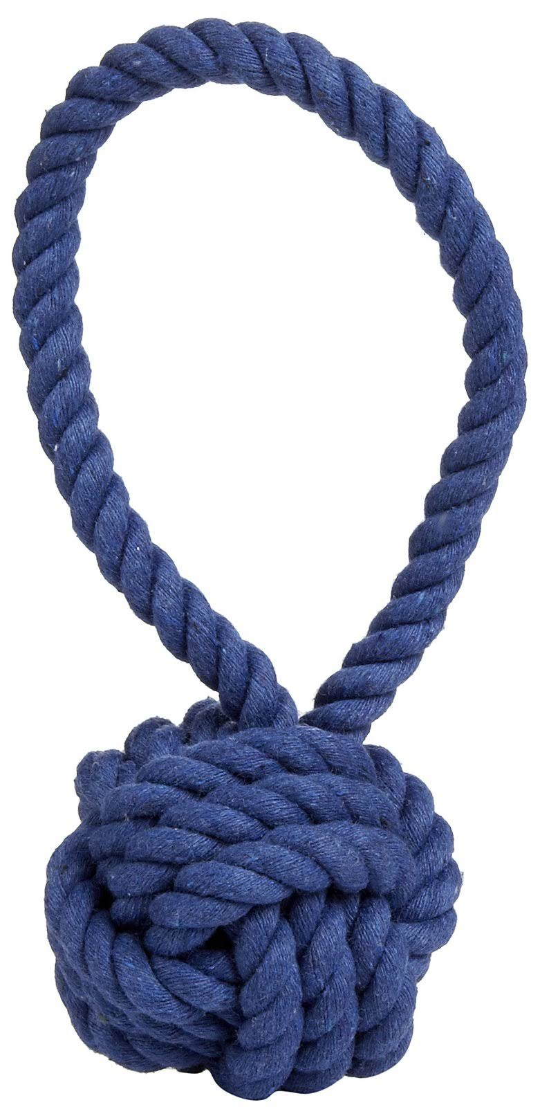 Harry Barker Cotton Rope Tug and Toss Toy - Dark Blue - Medium
